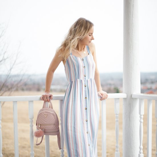 Striped Button Front Maxi Dress for