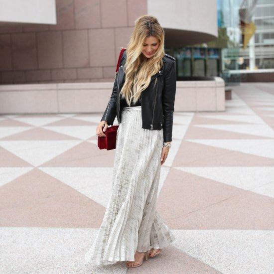 silver pleated maxi skirt | stylegawker