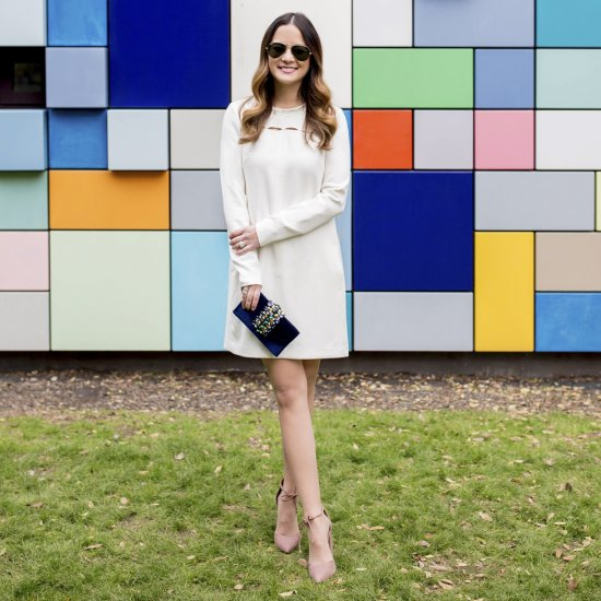 6ec9dd3ec150 White Embellished Shift Dress